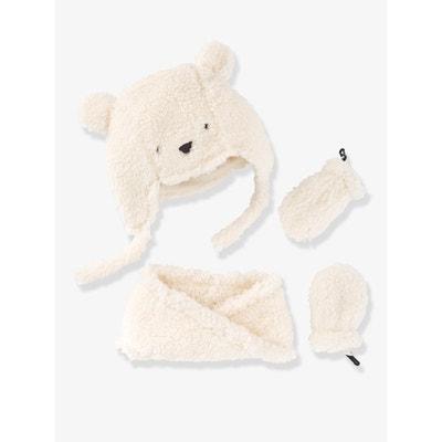 Chapka + snood + moufles bébé fille façon peluche Chapka + snood + moufles  bébé fille f70f7955d11