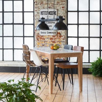 Incroyable Table à Manger Manguier Foncé Et Marbre Blanc | B45 Table à Manger Manguier  Foncé Et