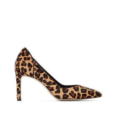 97c7a61485cc Escarpins cuir décolleté V à motif léopard Premium Escarpins cuir décolleté  V à motif léopard Premium