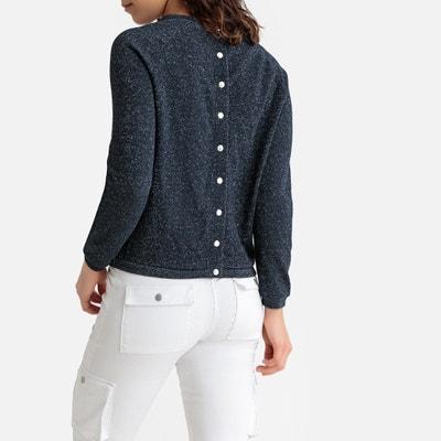 bdd60d37fb044 Metallic Sweatshirt with Press-Stud Back Metallic Sweatshirt with  Press-Stud Back LA REDOUTE