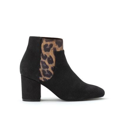 bottine en cuir gris interieur leopard
