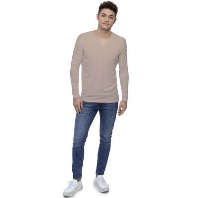 ddb528be19 T-shirt col V bande rapportée manches longues raglan en modal DAN T-shirt.  RENDEZ-VOUS PARIS