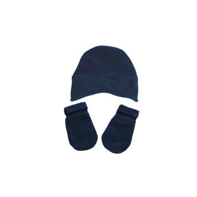 Bonnet et moufles polaire 0 mois-24 mois Made In France POUSSIN BLEU c291b7211c7