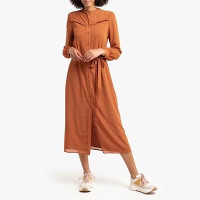 0278b3bc5bf66 Robe-chemise longue en plumetis, manches longues Robe-chemise longue en  plumetis,