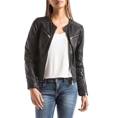 Veste en cuir femme style motard