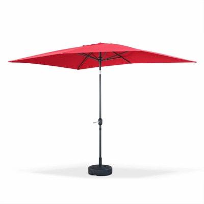 Parasol droit Touquet rectangulaire 2x3m Rouge, mât central aluminium  orientable et manivelle d ouverture 32900c934c52