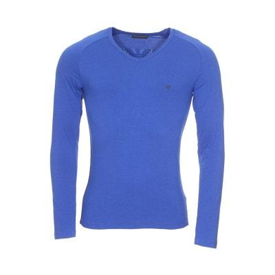 Tee-shirt manches longues col V en coton stretch à détails chiné EMPORIO  ARMANI. Soldes b01a25a66ab