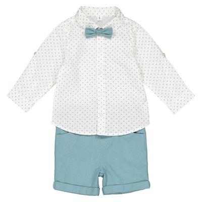 Ensemble bermuda + chemise + nœud 1 mois - 3 ans Ensemble bermuda + chemise  + 819e4d27562