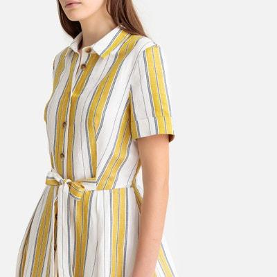 29a9fe1bacc Платье-рубашка в полоску с короткими рукавами из льна LA REDOUTE COLLECTIONS