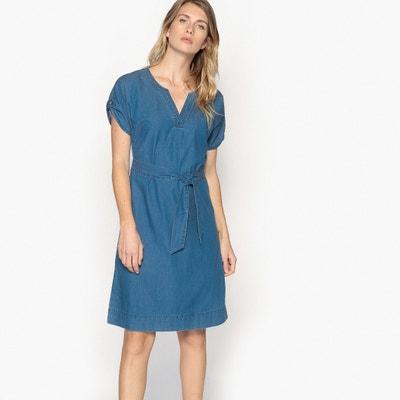 14f48732a27 Платье прямое из струящейся джинсовой ткани с короткими рукавами Платье  прямое из струящейся джинсовой ткани с