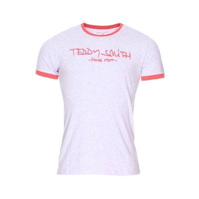 e2d51ce6b83ba Tee-shirt col rond Ticlass 3 en coton mélangé chiné floqué TEDDY SMITH