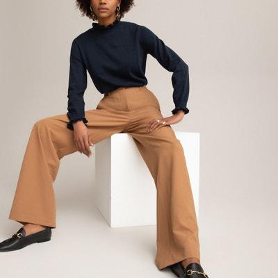 kunfang Femme Casual Pantalon Couleur Unie Taille /élastique Cordon Pantalon Grande Taille L/âche L/éger Longue Flare Pantalon avec Poche Blanc Kaki Noir Gris