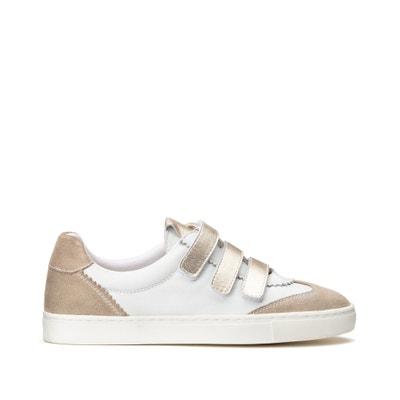 Driekleurige leren sneakers met klittenband Driekleurige leren sneakers met klittenband LA REDOUTE COLLECTIONS