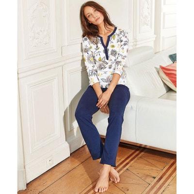 Pyjama met lange mouwen, bovenstuk met bloemenprint Pyjama met lange mouwen, bovenstuk met bloemenprint LA REDOUTE COLLECTIONS
