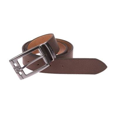 a1bc5a6ce0ba Large ceinture Pierre Cardin ajustable en cuir mat , Boucle siglée Large  ceinture Pierre Cardin ajustable