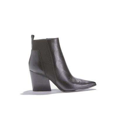 a1bc0a06bb3ede Chaussures femme talon plat boots cognac | La Redoute
