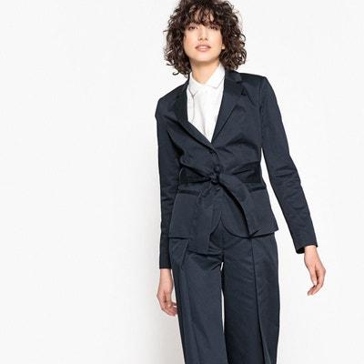 Veste tailleur longue bleu marine femme