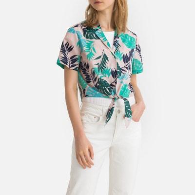 ee467509c58 Camisa con estampado de hojas