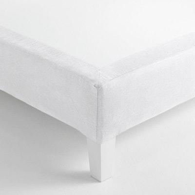 BLANC CERISE Cache sommier en Lin lav/é 140 x 200 cm