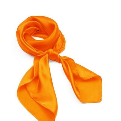 Carré de soie Premium Orange uni - 85x85 cm ALLEE DU FOULARD 3536f5dcdf3