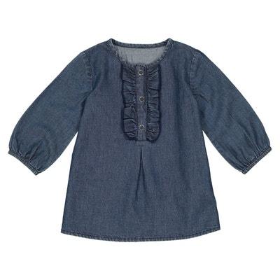 0b318a1787c53 Robe manches longues en jean 1 mois - 3 ans Robe manches longues en jean 1
