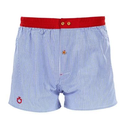 c059d9329440 Caleçon Wrap à rayures bleues et ceinture rouge DAGOBEAR