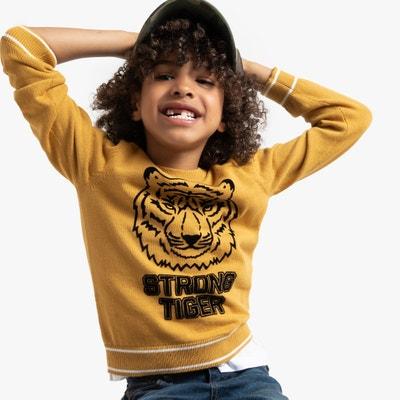 Trui met ronde hals en tijgerkop 3-12 jaar Trui met ronde hals en tijgerkop 3-12 jaar LA REDOUTE COLLECTIONS