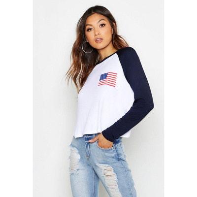 cce661c507658 Tee shirt femme manche longue bleu marine | La Redoute