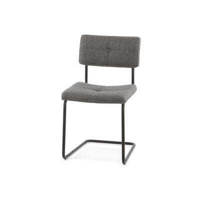 Chaise capitonnée gris chiné pieds métal DECLIKDECO 40cc638b3fb