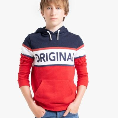 Driekleurige sweater met kap in molton 10-18 jaar Driekleurige sweater met kap in molton 10-18 jaar LA REDOUTE COLLECTIONS