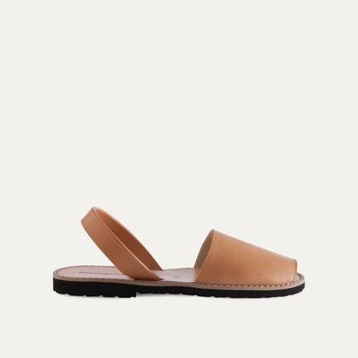 Sandales plates cuir femme | La Redoute