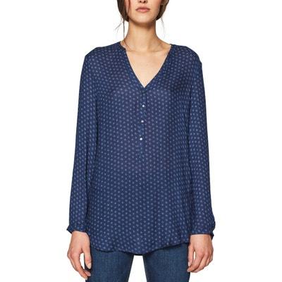 642205e54 Blusa con cuello de pico y estampado gráfico