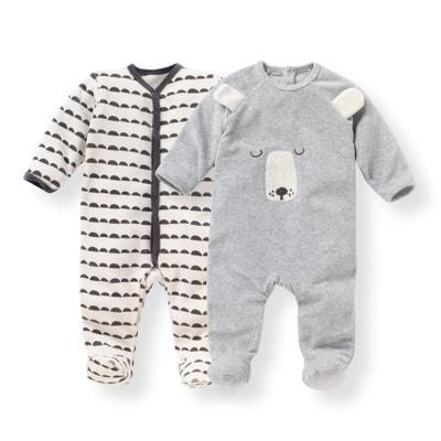 Set van 2 geboorte pyjama's in fluweel 0 mnd - 3 jaar Set van 2 geboorte pyjama's in fluweel 0 mnd - 3 jaar LA REDOUTE COLLECTIONS