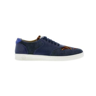 767b45c783f7f Basket bleu marine en cuir et toile à imprimé wax PANAFRICA