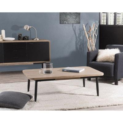 Table basse en Acacia massif couleur naturelle et pieds métal 120x70x38cm  PALMEIRA PIER IMPORT 5669cf9a7a99
