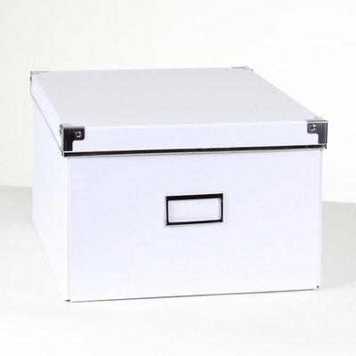 Boîte de rangement carton blanc armature métal - petit modèle CASAME d12bc6c32c6c