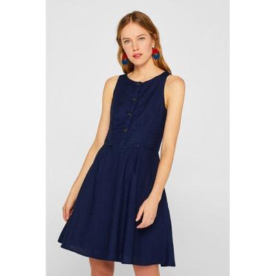 Korte jurk zonder mouwen afgewerkt met knopen Korte jurk zonder mouwen afgewerkt met knopen ESPRIT