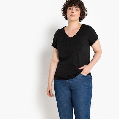 49a1d61b3acd Tee shirt noir col v femme