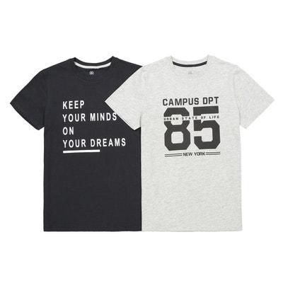 29e2237fd0252 Lot de 2 T-shirts imprimés poitrine 10-16 ans Lot de 2 T
