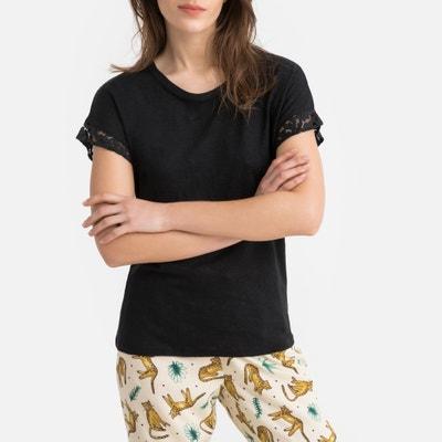 f417b7b4fa4 Pyjama bovenstuk in linnen, detail in kant LA REDOUTE COLLECTIONS