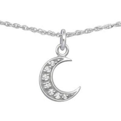 Collier Longueur 38 cm Lune Croissant de Lune Astre Ciel Etoilé Strass  Blanc Argent 925 SO. SO CHIC BIJOUX 09d5027b0dd