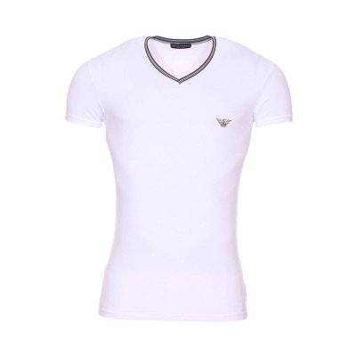 b7c6106e1d08 Tee-shirt col V à bande tricolore en coton stretch à logo Eagle sur la.  Soldes. EMPORIO ARMANI