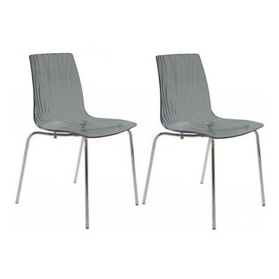 Lot De 2 Chaises Design Transparentes Grises ARC