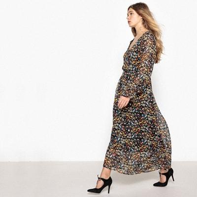 66bad2de26e2 Платье длинное с цветочным рисунком и напускным эффектом Платье длинное с  цветочным рисунком и напускным эффектом