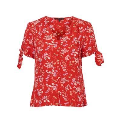 6463a6fbbe Blusa con cuello de pico y estampado de flores