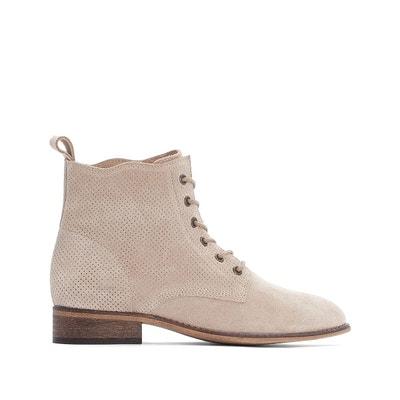 c0fc057858a Boots cuir à lacets effet perforé Boots cuir à lacets effet perforé LA  REDOUTE COLLECTIONS