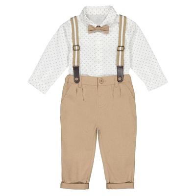 acb4b99206fc2 Ensemble pantalon + chemise + nœud 3 mois - 3 ans Ensemble pantalon +  chemise +