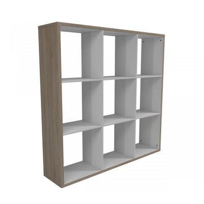 Bibliothèque 9 cubes imitation chêne et blanc B9C119 TERRE DE NUIT bcffdefe3787