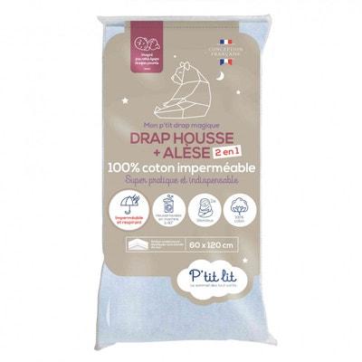 Lot de 2 Draps-housses Clevamama Draps Housse /Élastique pour Lit B/éb/é en 100/% Jersey Coton 60x120 Blanc