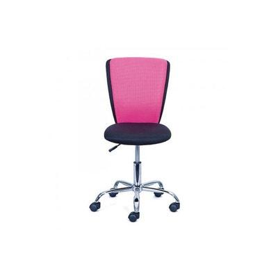 Chaise De Bureau Pivotante Reglable Rose Et Noire ERWAN